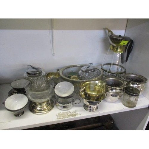 54 - A mixed lot to include a silver on porcelain part teaset and other items...