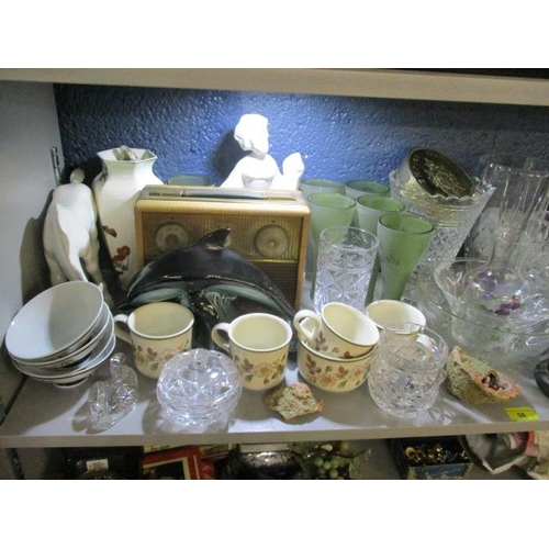 58 - A large mixed lot to include costume jewellery, cut glassware, books, abstract sculptures, a vintage...