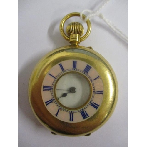 13 - An early 20th century 18ct gold half hunter fob watch.  The white enamel dial having Roman numerals ...