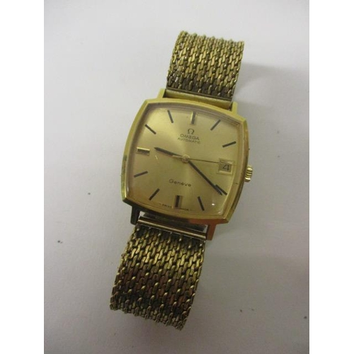 17 - An Omega gents automatic, gold plated, late 1960s wristwatch. The gilt dial having date aperture at ...