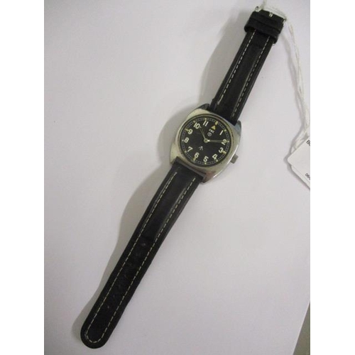 2 - A CWC military issue gents, manual wind stainless steel wristwatch, circa 1979.  The black dial havi...
