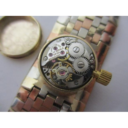 22 - A Bueche Girod ladies, manual wind, 9ct gold wristwatch. The gilt dial having Roman numerals, the 17...