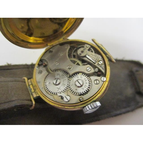 29 - A Rolex ladies,  manual wind, 9ct gold early 20th century wristwatch. The white enamel dial having R...