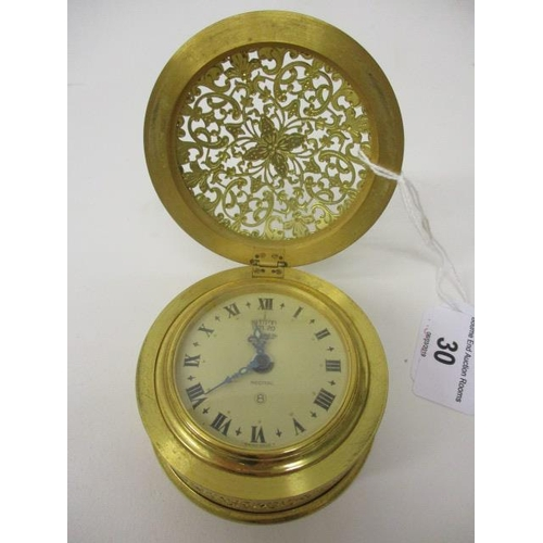 30 - A Jaeger Recital eight day travelling alarm clock in the form of a drum table clock. The dial with R...