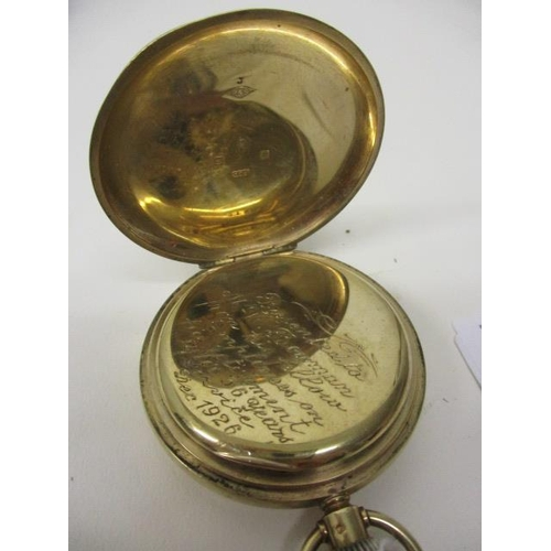 33 - LOT WITHDRAWN - A 1920s open faced, 9ct gold keyless wind pocket watch. The white enamel dial having...