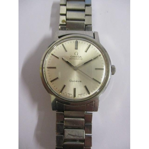 4 - An Omega gents automatic, stainless steel 1970s wristwatch. The silvered dial having baton markers a...