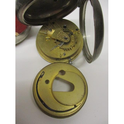 43 - A late Victorian open faced silver pocket watch. The white enamel dial inscribed Thomas Stockdale, D...