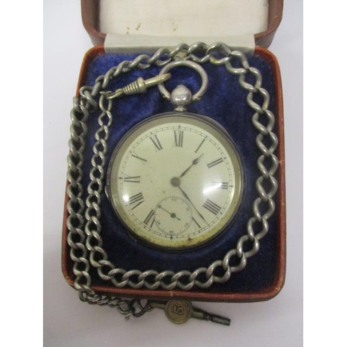 48 - A Victorian open faced, silver pocket watch. The dial having Roman numerals and subsidiary seconds d...