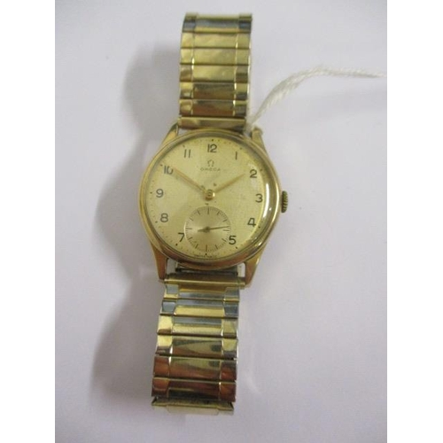 6 - An Omega gents manual wind, 9ct gold, 1940s wristwatch.  The 15 jewel movement signed 10872864 and t...
