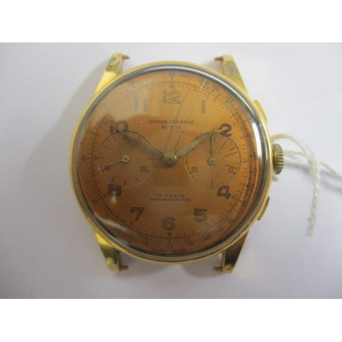 9 - A gents chronograph manual wind, 18ct gold 1950s wristwatch. The dial inscribed chronographer Suisse...