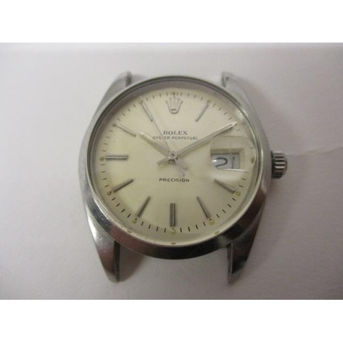 34 - A Rolex Oyster-date Precision gents manual wind, stainless steel 1960s wristwatch. The later dial ha...