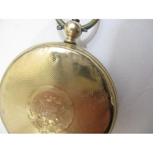 41 - A Victorian open faced, 14ct gold pocket watch.  The gilt machine turned dial having Roman numerals ...