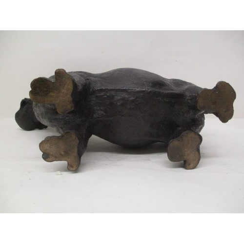 2 - An early 20th century Japanese cast bronze model of a hippopotamus with its jaws wide open, signed t...