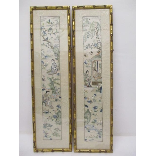 6 - A pair of 19th/20th century Chinese sleeve bands, each decorated with two women in a garden, with bi...