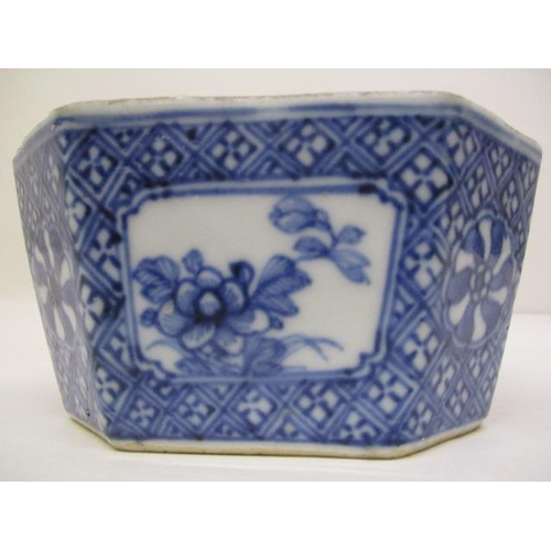 8 - A 19th century Chinese blue and white octagonal bowl, the interior decorated with a flower head and ...