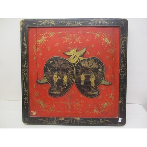 9 - A late 19th century Chinese black and red lacquered box frame decorated in gilt with figures in a ga...