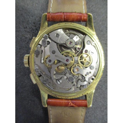 61 - A Breitling Chronograph, gents, manual wind, gold plated wristwatch circa mid 20th century, the silv...