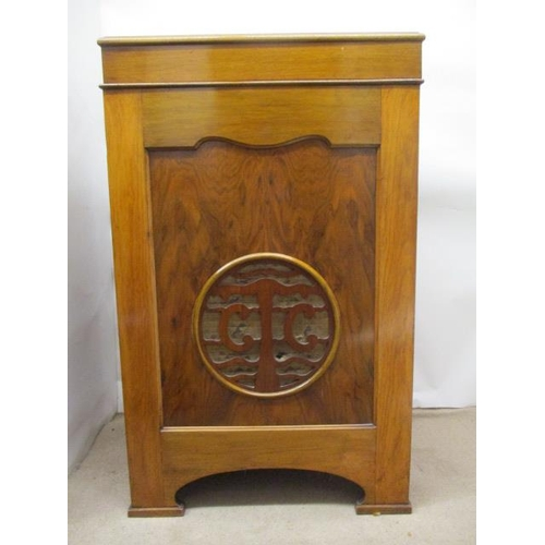 89 - A 1930s walnut cased gramophone cabinet with a hinged top enclosing a Garrard model 301 record playe...