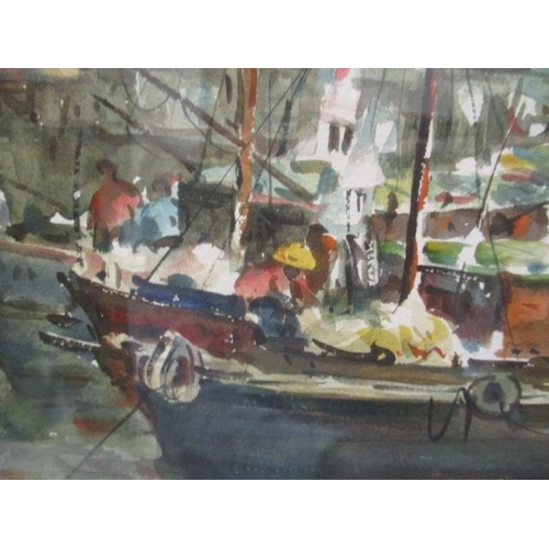 24 - Chin Chang - a view of boats by houses on stilts, watercolour, signed lower right corner, 12