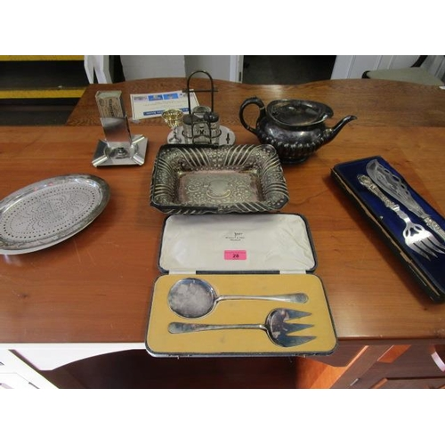 28 - Silver plate to include a bread basket, fish servers, a pair of servers, a Match box holder/ashtray ...