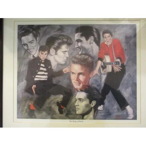57 - A print depicting Elvis Presley entitled The King of Rock...