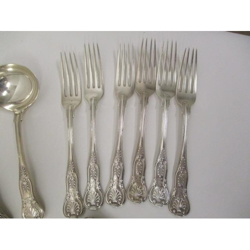 3 - A matched set of silver Kings pattern cutlery and flatware, comprising six table spoons, six dessert...