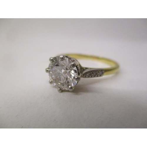 35 - A solitaire diamond ring approximately 1.75ct in an 18ct yellow gold and platinum setting, size Q, 3...