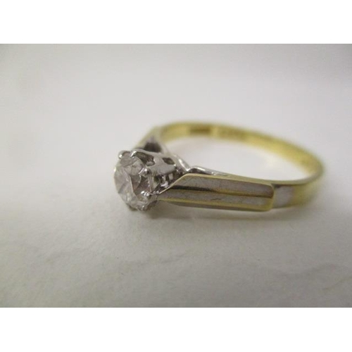 40 - A gold and platinum coloured metal solitaire diamond ring, approximately 3.5ct, stamped 18ct plat, 3...