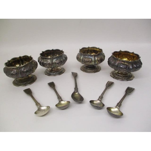 5 - A set of four early Victorian silver salts by Charles Fox II, London 1839 of flower design, on a ped...