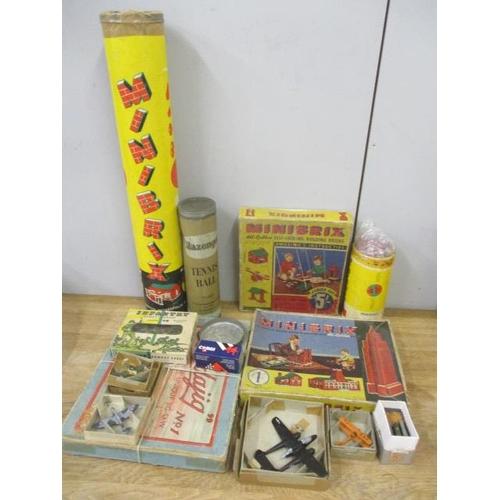 13 - A Minibrix De Luxe set tube box containing various Minibrix, Infantry Combat group figures, a puzzle...