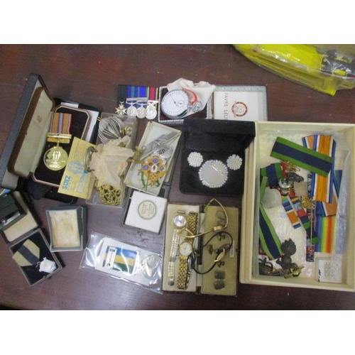 17 - Watches, costume jewellery, St John's Ambulance and other reproduction medals, a silver ring and oth...