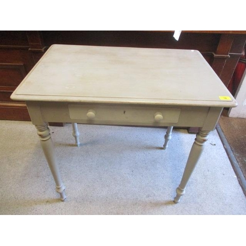18 - A Victorian pine side table standing on turned legs with a single drawer 29