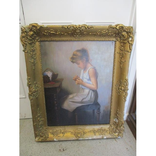 2 - A gilt framed oil on board of a young female 27 1/4