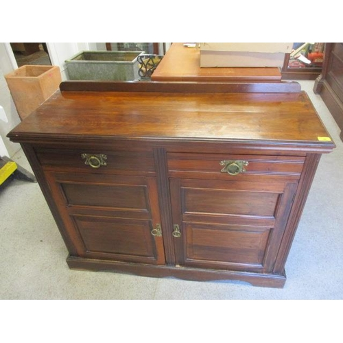 26 - A late Victorian walnut cabinet with two short drawers and a pair of doors, 37 1/2