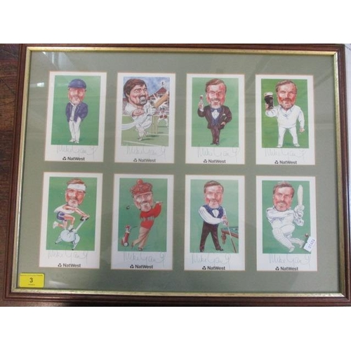 3 - A framed and glazed set of signed postcards of sporting scenes to include Mike Gatting...