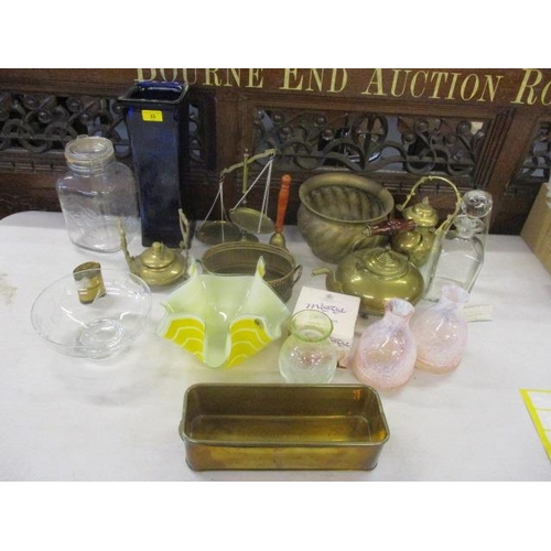 33 - A mixed lot to include Victorian brassware and mixed glassware to include Caithness and others...