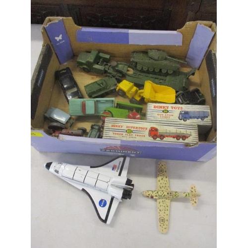 35 - Dinky and other diecast model vehicles to include a Foden flat truck 905, a Guy 4 ton lorry 911, mil...