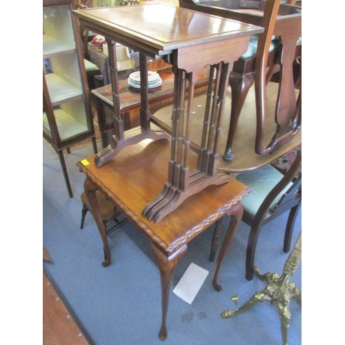 38 - An early 20th century nesting set of three mahogany occasional tables and a walnut occasional table,...