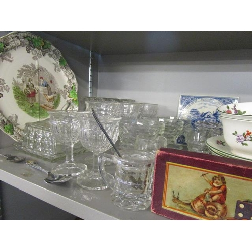 7 - A mixed lot of 20th century Jacobean style glass and metal ware to include candlesticks, a teaset, G...