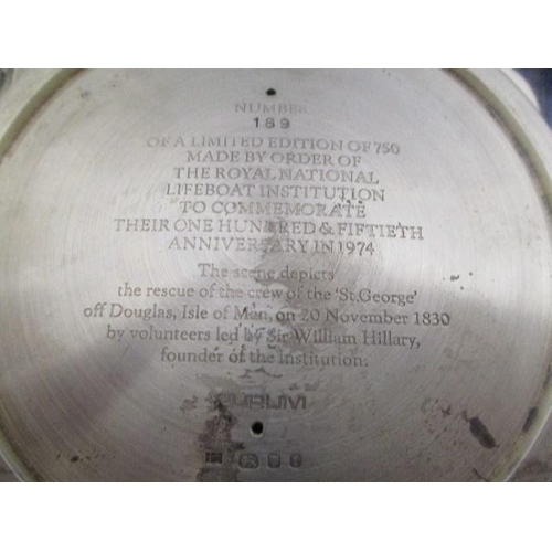 1 - A pair of 1970s silver, Royal National Life Boat Institution commemorative dishes by Hector Miller, ...