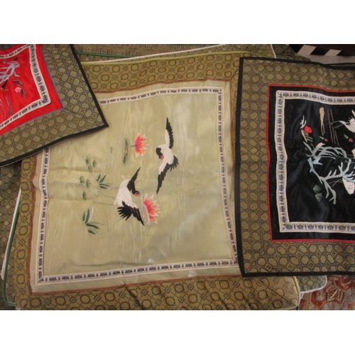 42 - Mixed oriental silk, together with snazzy wine covers...