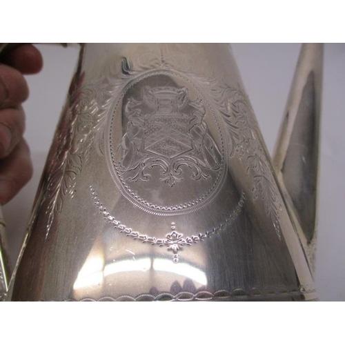 22 - A mid Victorian silver, four piece tea/coffee set by Elkington & Co, London 1858/59, with bead, flor...