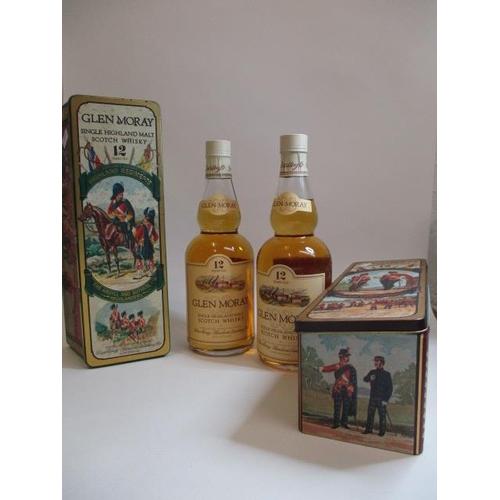1 - Two bottles of Glen Moray Whisky in presentation tins...