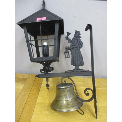 10 - A Victorian outdoor lamp with bell below...