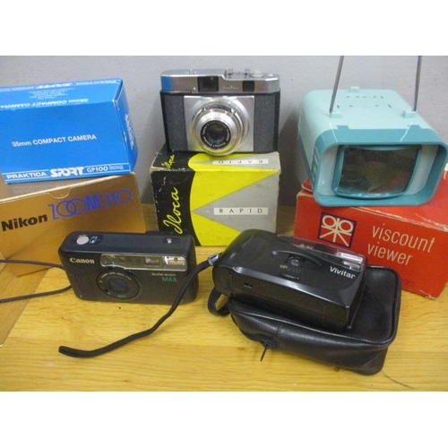 11 - Vintage cameras to include an Ilora Rapid, together with a Viscount viewer...