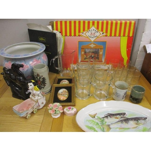 12 - A mixed lot to include a Pelham theatre in original box, glass beer tankards, a pair of late 20th ce...