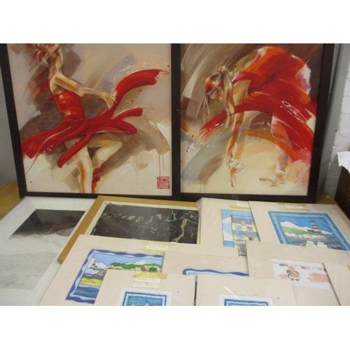 19 - A pair of contemporary oils on canvas of a ballet dancer, together with mixed prints to include a sm...