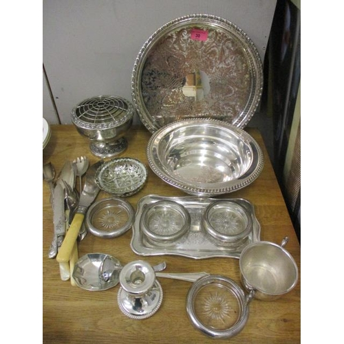 30 - Mixed silver plate to include a bowl with a gadrooned rim, a pierced tray and other items...