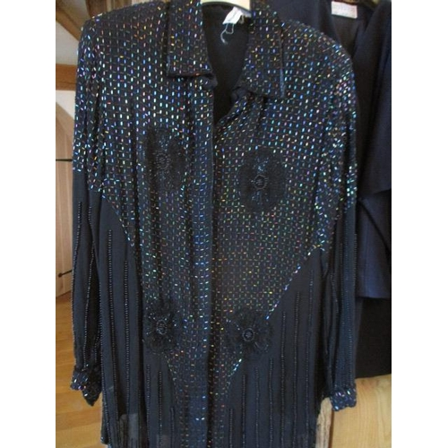 38 - Late 20th century ladies evening garments to include a Frank Usher black beaded blouse, a Jean Muir ...
