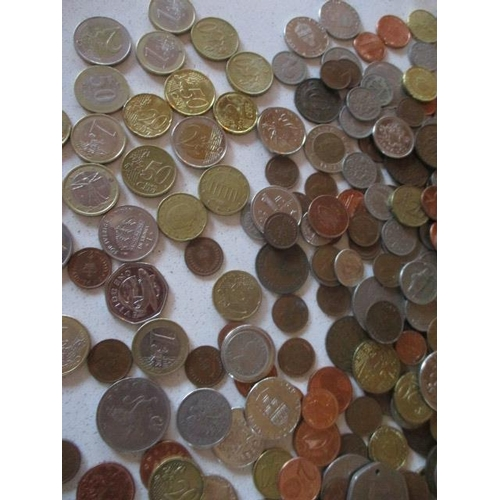 41 - A large quantity of 20th century sixpences, three pences, UK coinage, foreign coins to include Euros...